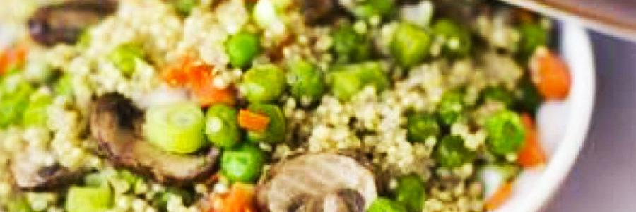 Quinoa ai funghi e piselli
